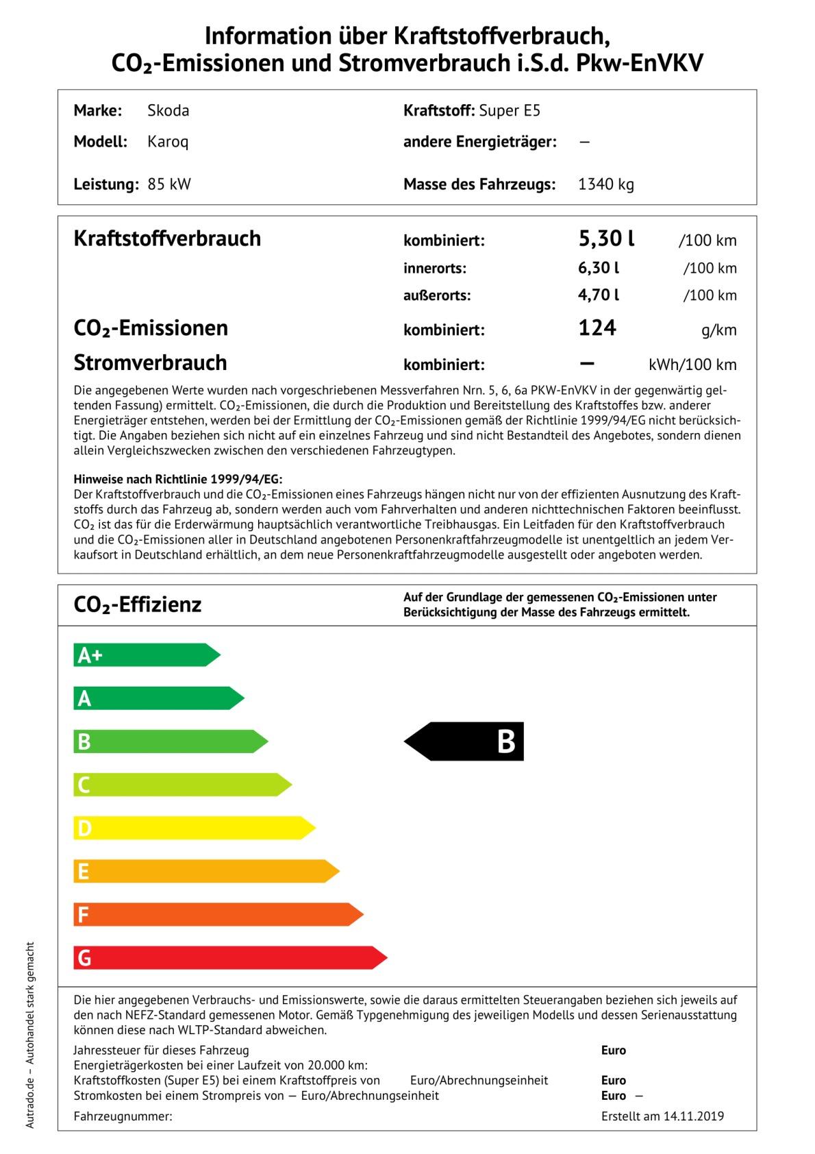 Energielabel 1,0 TSI
