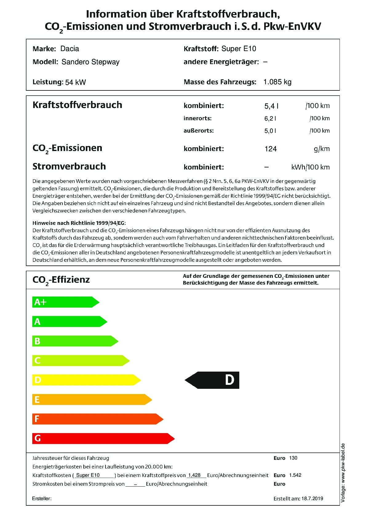 Energielabel SCe 75 (Nur als Lagerwagen)