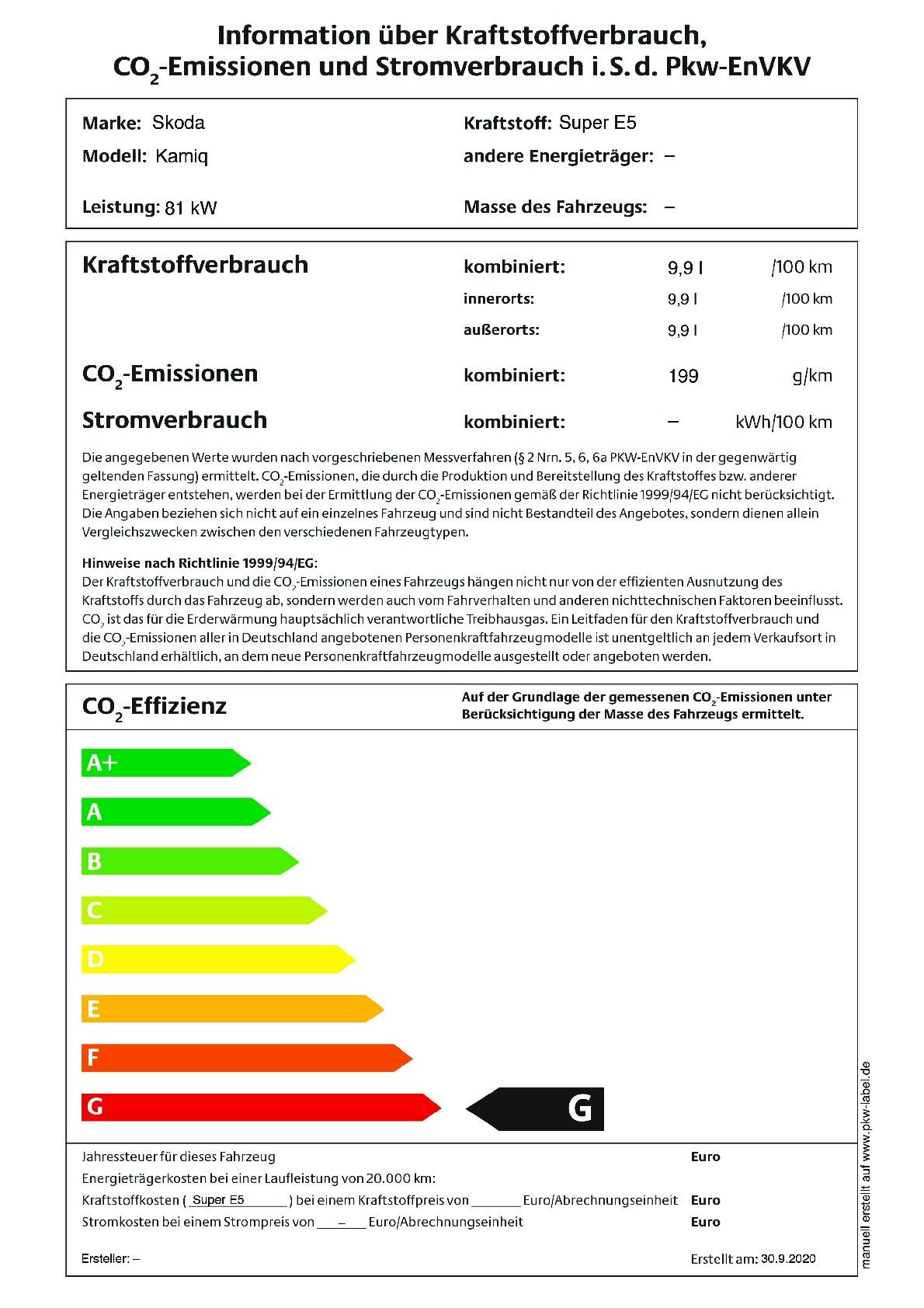 Energielabel 1.0 TSI DSG