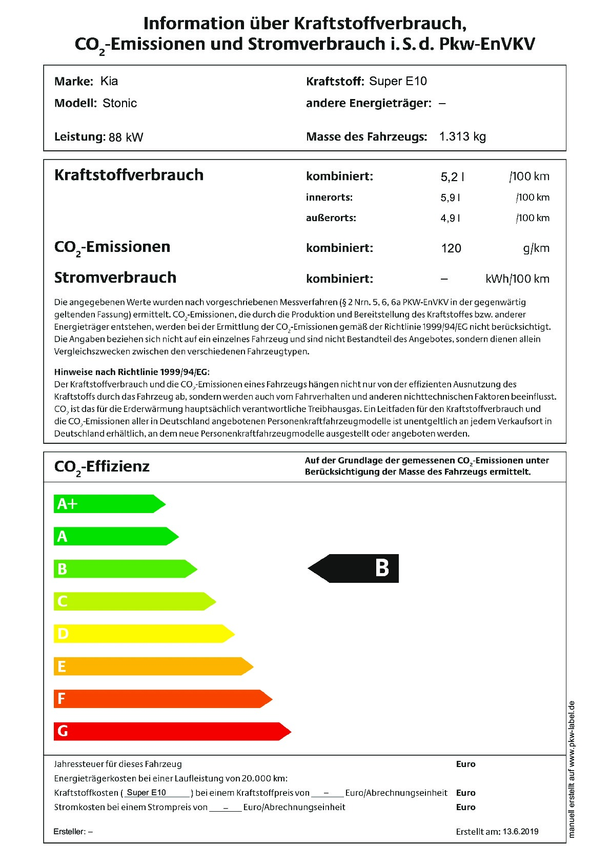 Energielabel 1,0 T-GDI Automatik