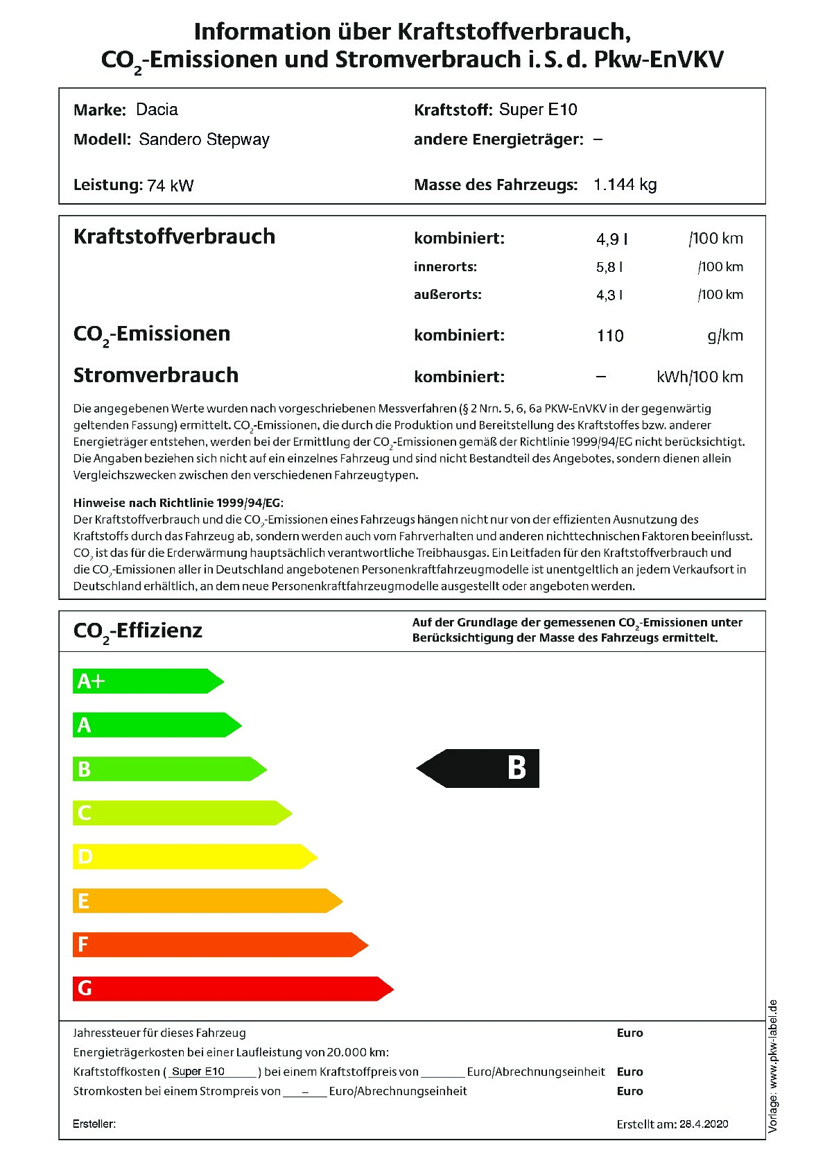 Energielabel TCe 100 (Nur als Lagerwagen)