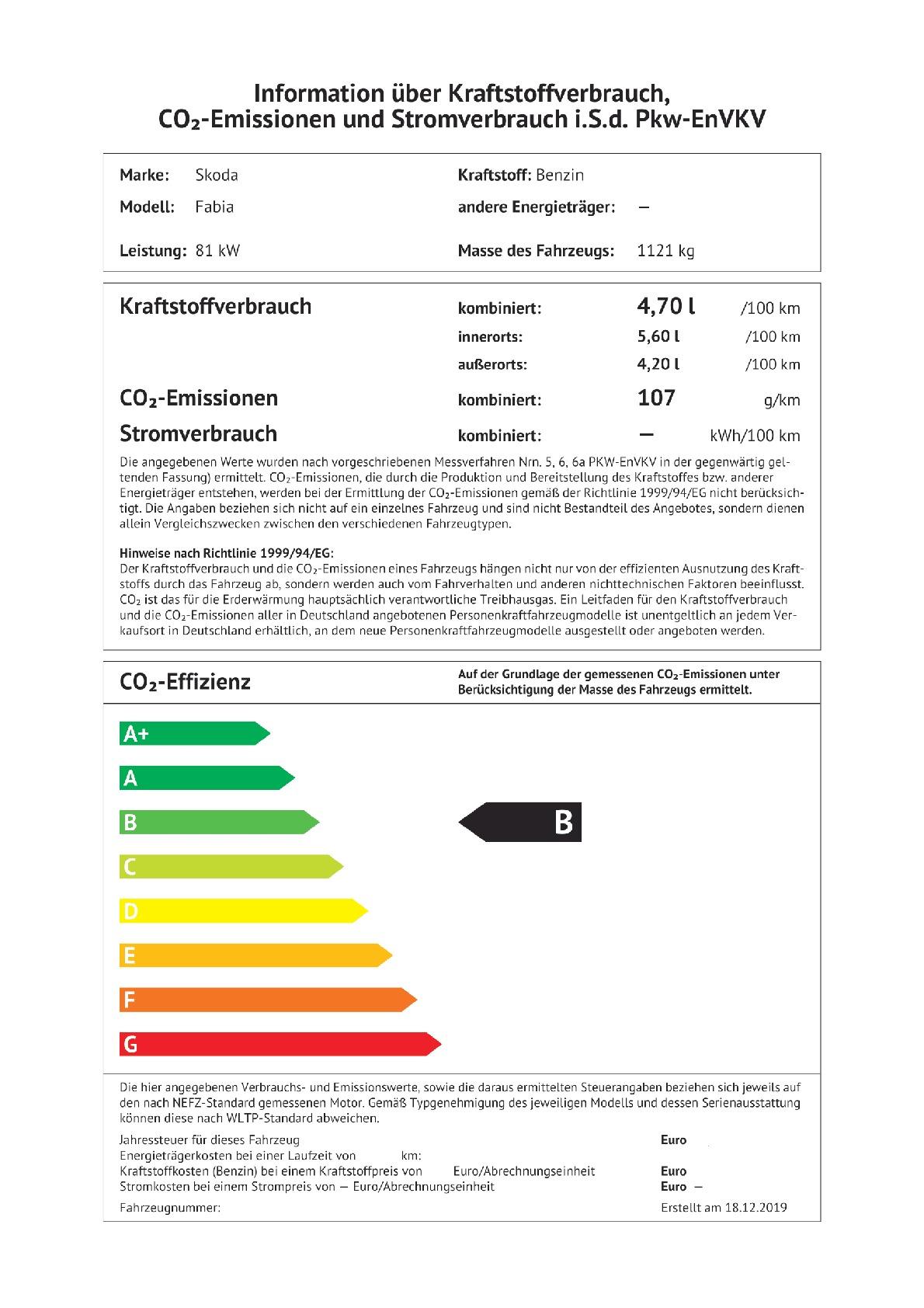 Energielabel 1.0 TSI (nur als Lagerwagen)