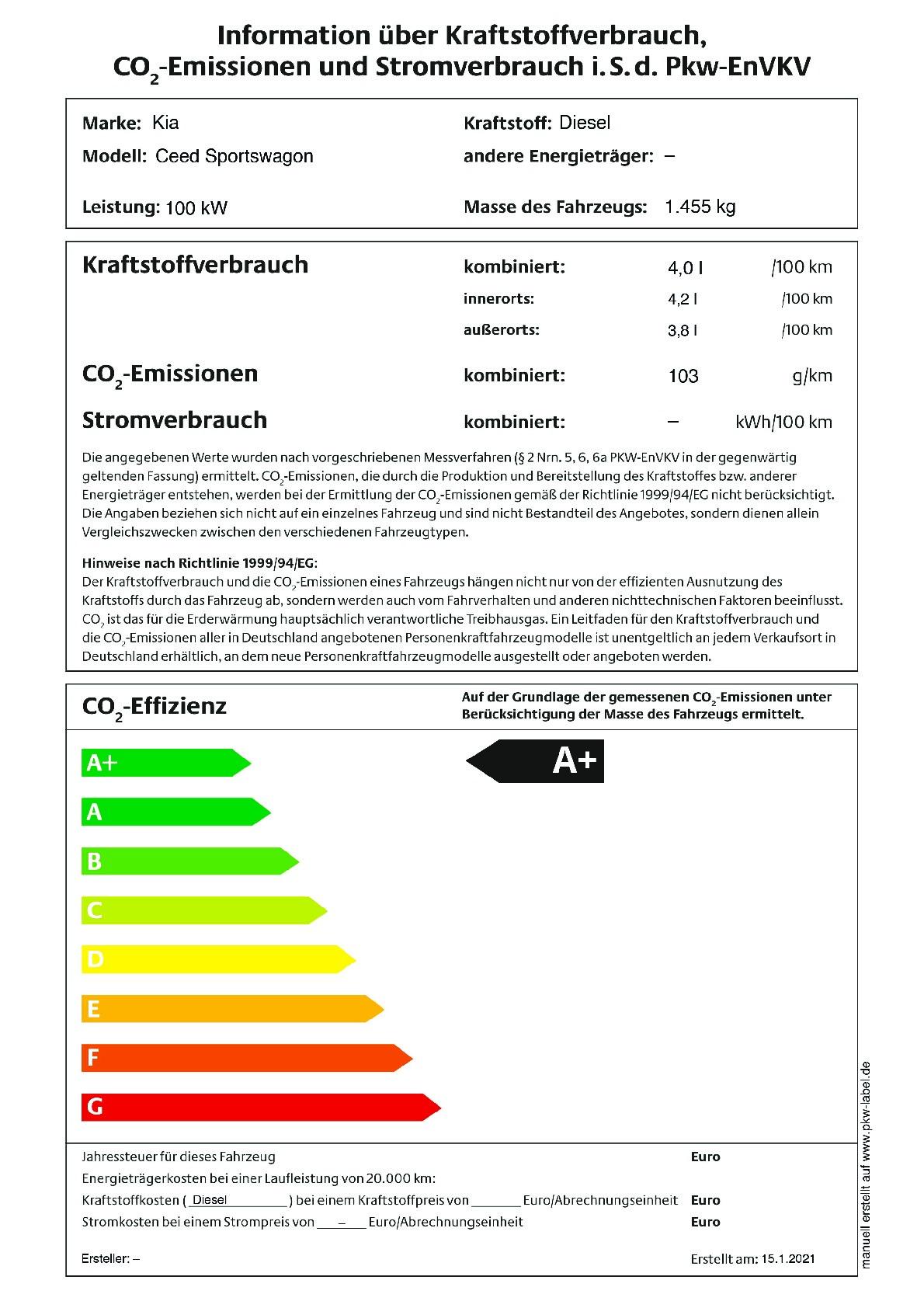 Energielabel 1.6 CRDI SCR MHEV