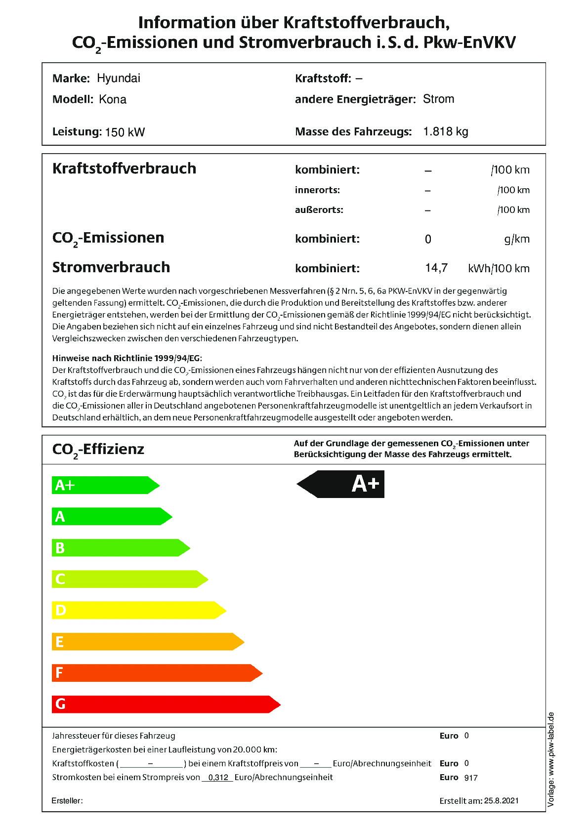 Energielabel 150 kW,  64,0 kWh