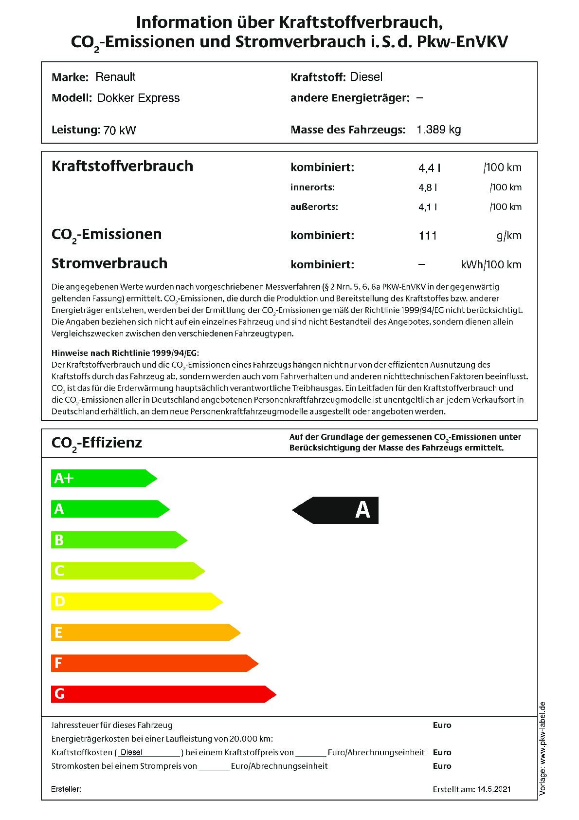 Energielabel 1.5 Blue dCi 95