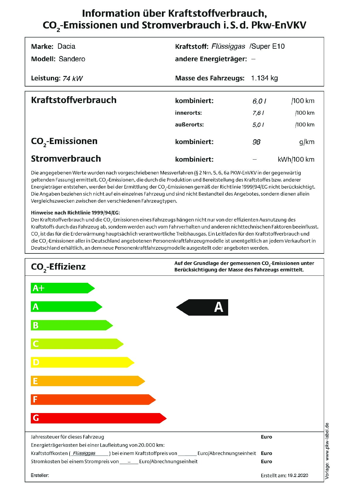 Energielabel TCe 100 LPG (Nur als Lagerwagen)