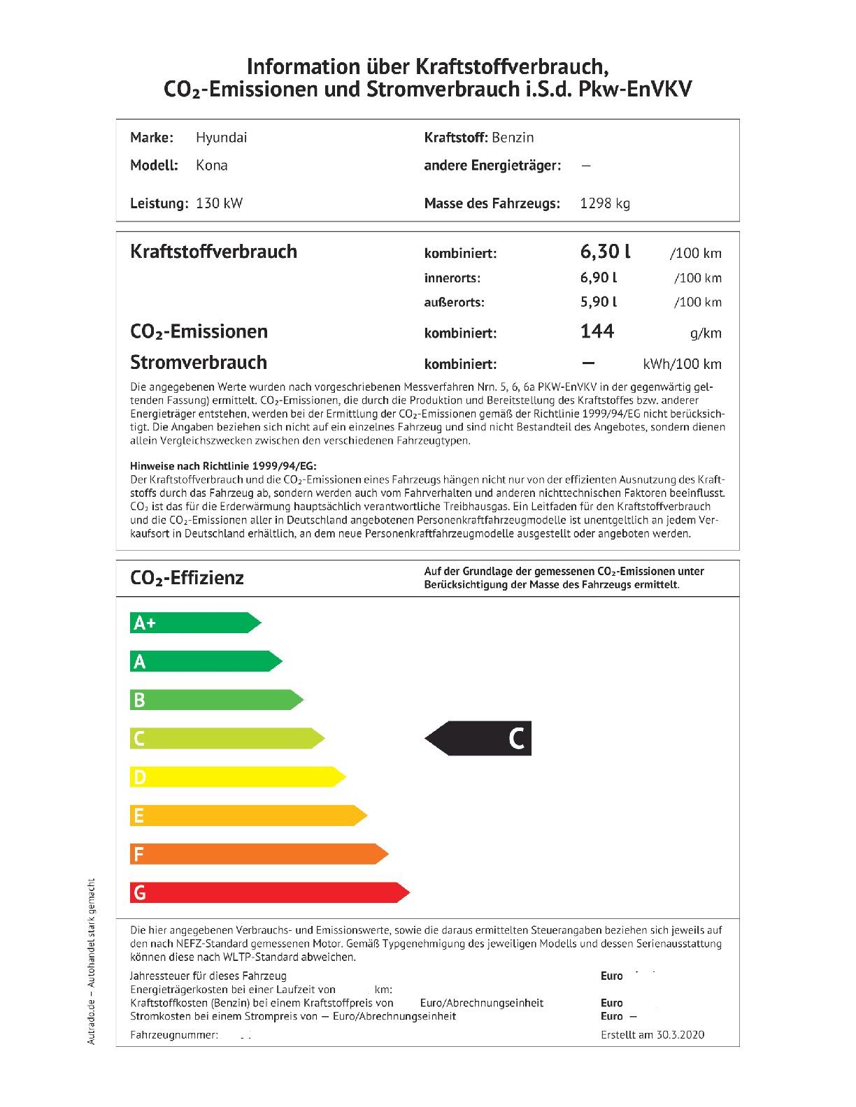 Energielabel 1.6 T-GDI 4X2 Automatik